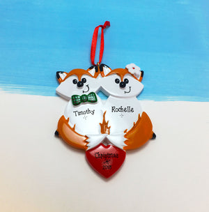 Fox Couple with Heart Personalized Christmas Ornament / Couple Ornament / 2 Foxes / First Christmas