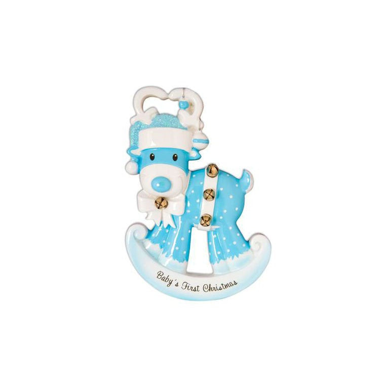 Blue Baby Rocking Reindeer Personalized Christmas Ornament / Baby's 1st / Baby's First / Hand Personalized