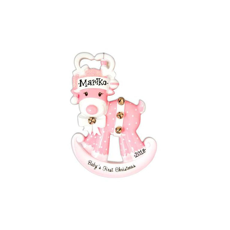 Baby Girl Personalized Christmas Ornament / Baby's First / Pink Rocking Reindeer