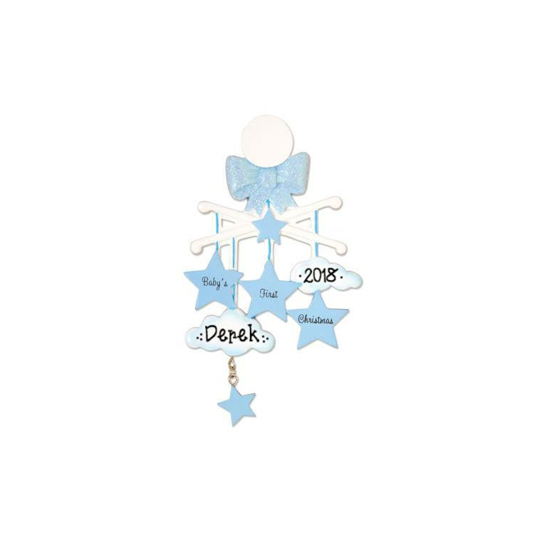 Blue Baby Crib Mobile Personalized Christmas Ornament / Baby's 1st / Baby's First / Hand Personalized