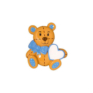 Baby Boy Teddy Bear Personalized Christmas Ornament / Baby's First / Blue