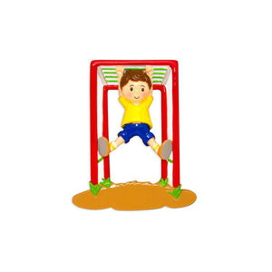 Boy on Jungle Gym Personalized Christmas Ornament / Playground / Park / Recess