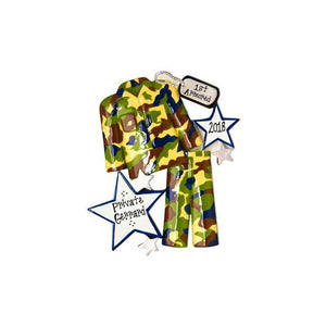 Camo Fatigues Christmas Ornament / Personalized Christmas Ornament / Camouflage Ornament / U.S. Armed Forces / Military