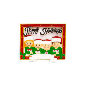 Family of 4 Holiday Card Personalized Christmas Ornament