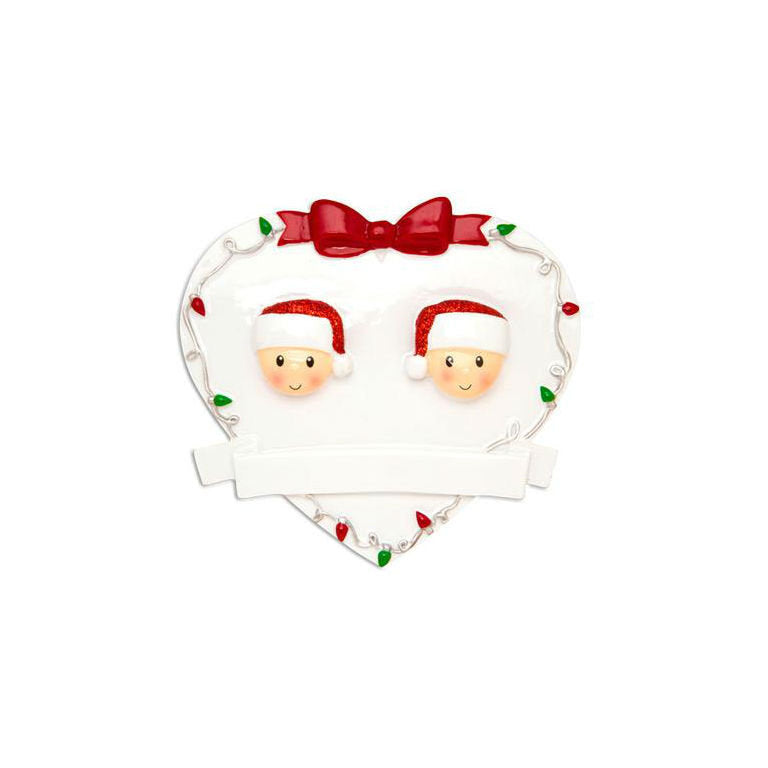 2 Happy Faces in a Heart with a Bow / Engaged Couple Personalized Christmas Ornament / Engagement / Mommy and Me / Valentines / Happy Pair