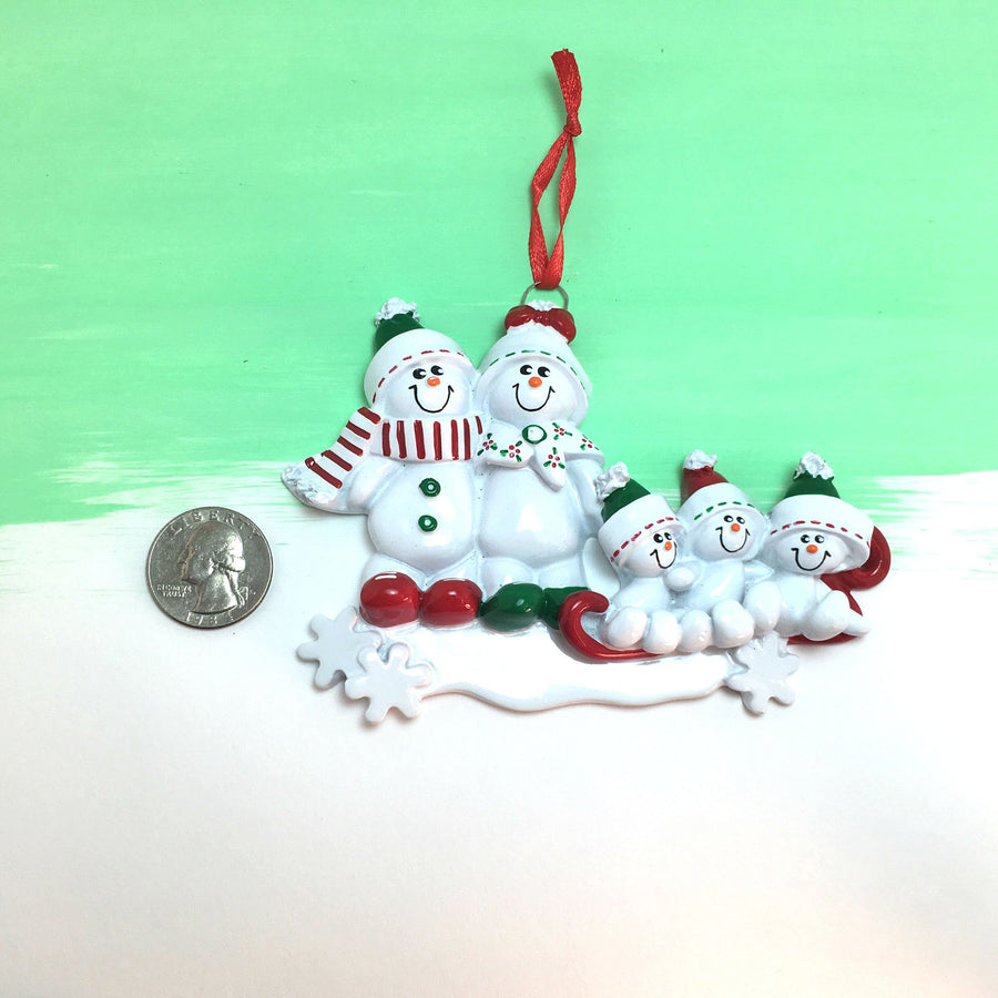 Family of 5 Snowmen Sledding Personalized Christmas Ornament