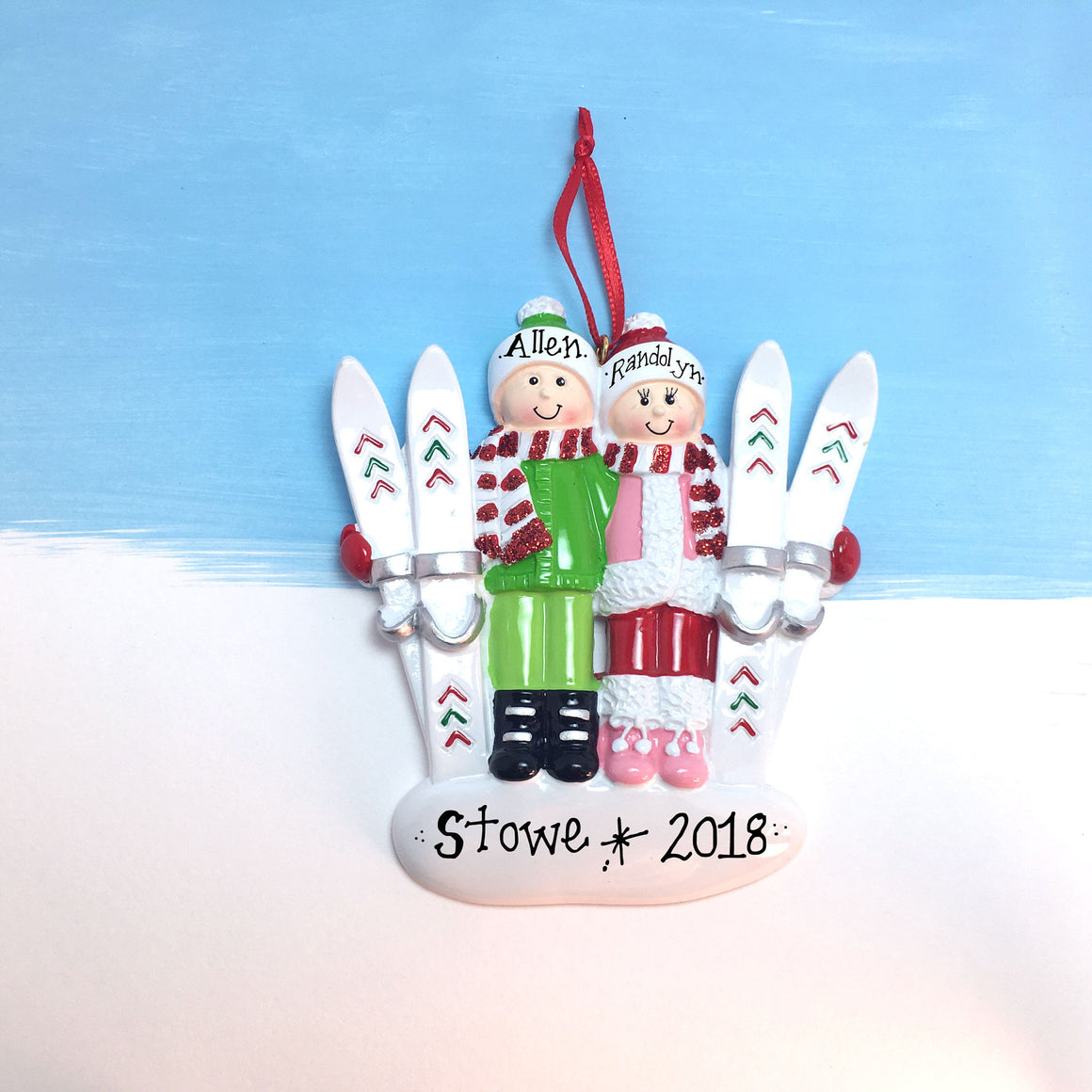 Skiing Couple Personalized Christmas Ornament / Couple Ornament / Pair Ornament / Ski Vacation Ornament / Engaged Ornament