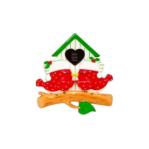 2 Red Birds in a Bird House Personalized Christmas Ornament