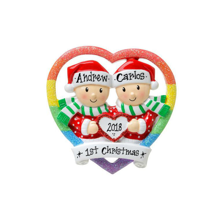 Male Couple Personalized Christmas Ornament / Pride Rainbow Rainbow Heart / Gay Couple Ornament