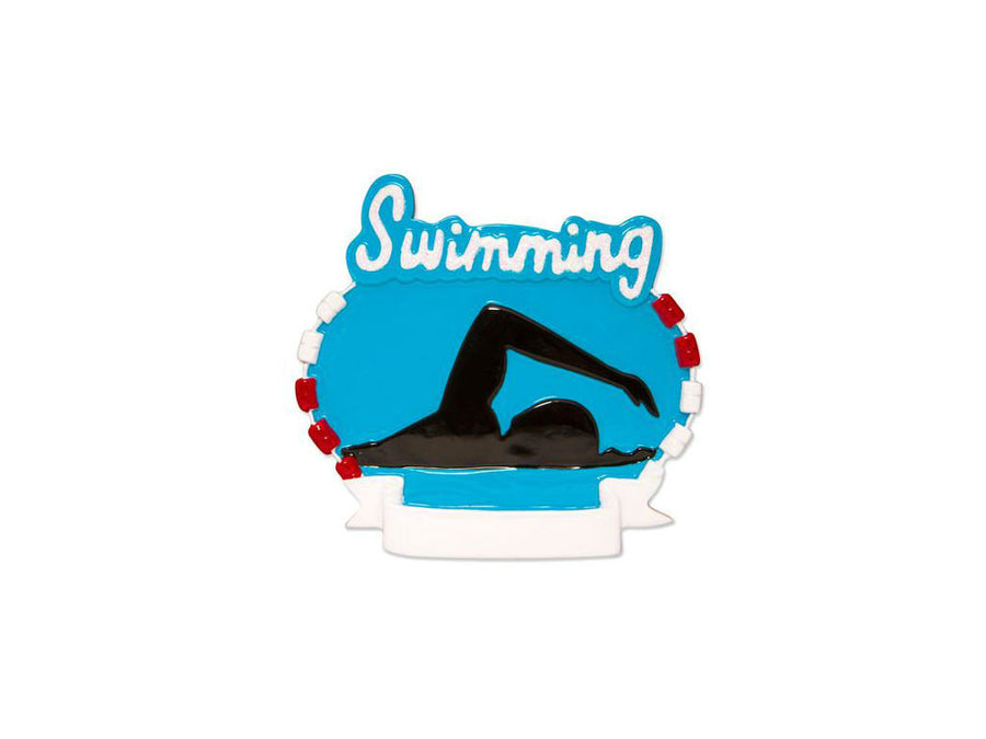 Swimming Personalized Christmas Ornament / Swimmers Silhouette Ornament / Hand Personalized Christmas Ornament