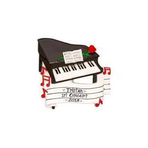 Grand Piano and Sheet Music Personalized Christmas Ornament / Piano Ornament / Music Ornament / Musician Ornament