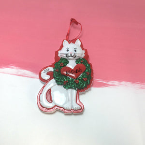 White Cat with Wreath and Heart Personalized Christmas Ornament / Kitten Christmas Ornament