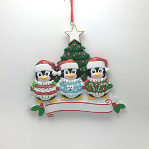 3 Penguins in Ugly Christmas Sweaters Personalized Ornament