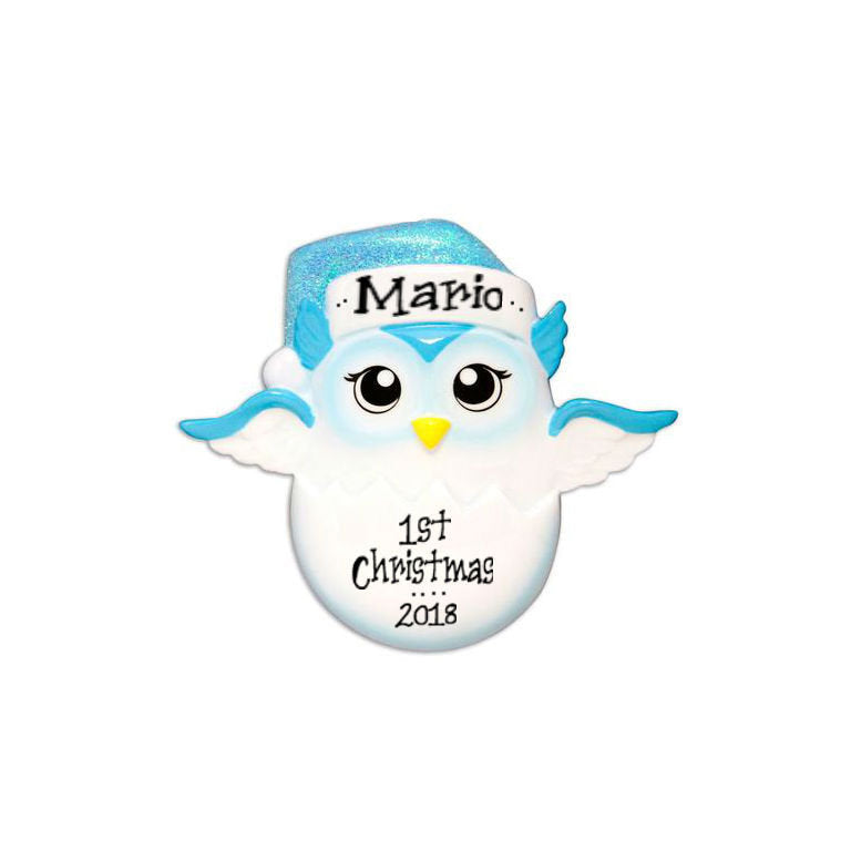 Baby Owl Personalized Christmas Ornament / Blue / First Christmas / Baby's First