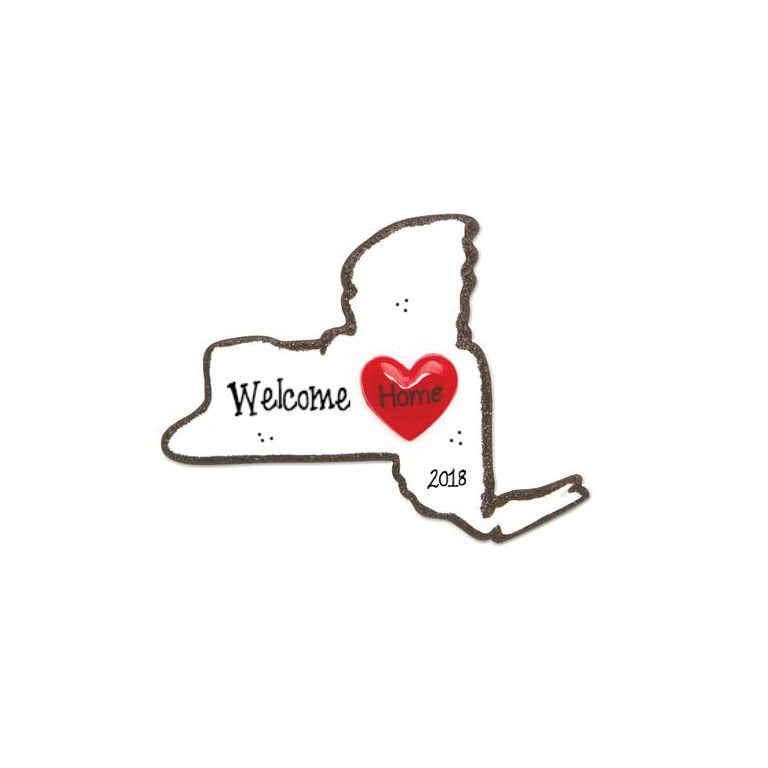 New York State Personalized Christmas Ornament / Home is Where the Heart is