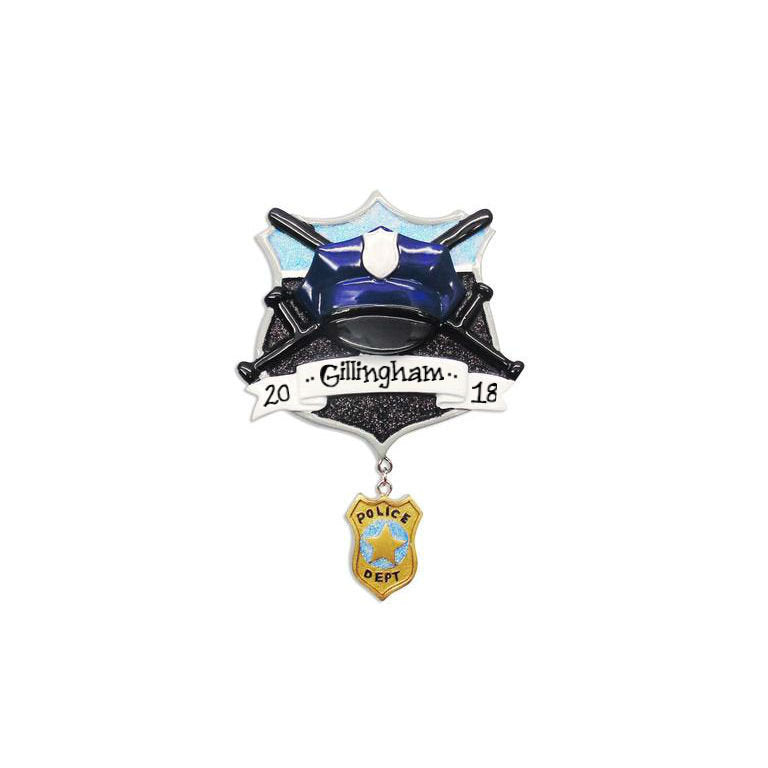 Police Hat & Shield Personalized Christmas Ornament / Police Ornament / Policeman Ornament