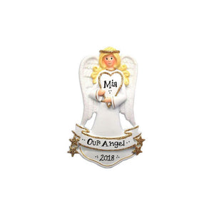 Angel with Heart Personalized Christmas Ornament