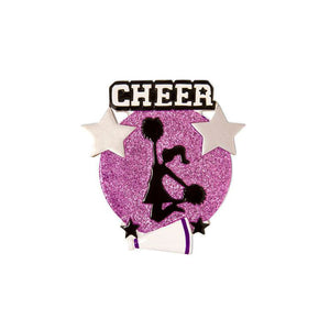 Cheerleader Medallion Christmas Ornament / Cheerleading Ornament Purple and Black / Personalized Christmas Ornament / Cheer Team Ornament