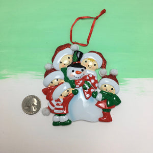 Family of 5 Building a Snowman Personalized Christmas Ornament