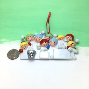 9 Happy People in a Snowball Fight Personalized Christmas Ornament