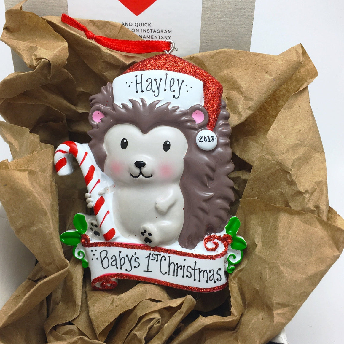 Christmas Hedgehog Personalized Christmas Ornament / Custom Names or Message / Stocking Stuffer
