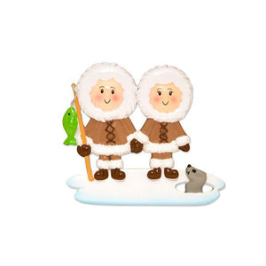 Couple Ice Fishing Personalized Christmas Ornament