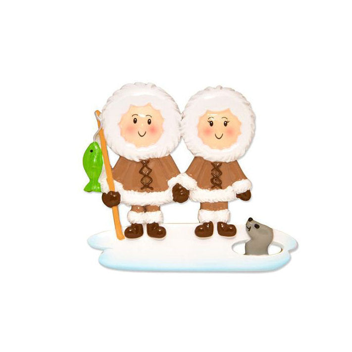 Arctic Couple Ornament / Personalized Christmas Ornament / Hand Personalized Names and Message