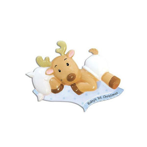 Baby Boy Reindeer with Blankie Personalized Christmas Ornament / Baby's First / Blue