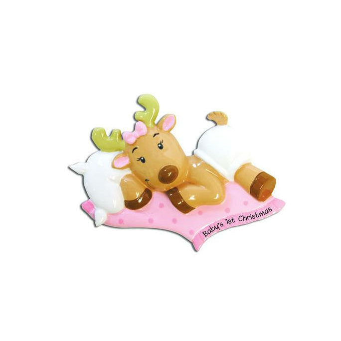 Baby Girl Reindeer with Pink Blankie Personalized Christmas Ornament / Baby's First