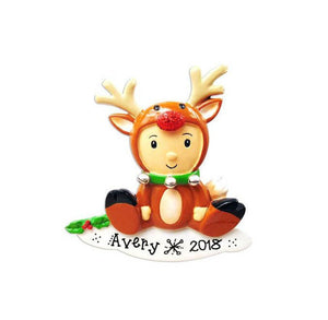Reindeer Onesie Personalized Christmas Ornament / Reindeer Costume Ornament / Gift for Kids