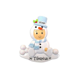 Boy Child Personalized Christmas Ornament / Blue Snowman Onesie / Ornament for Kids