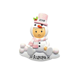 Pink Snowman Onesie Personalized Christmas Ornament / Gift for Kids