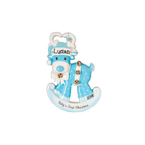 Baby Boy Personalized Christmas Ornament / Baby's First / Blue Rocking Reindeer