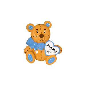 Baby Teddy Bear with Blue Bow Personalized Christmas Ornament / Blue / First Christmas / Baby's First