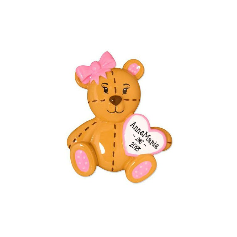 Baby Teddy Bear with Pink Bow Personalized Christmas Ornament / Pink / First Christmas / Baby's First