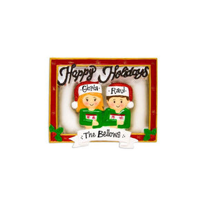 Couple's Holiday Card Personalized Christmas Ornament