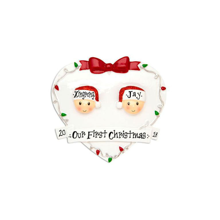 2 Happy Faces in a White Heart Personalized Christmas Ornament