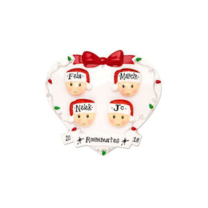 4 Happy Faces in a White Heart Personalized Christmas Ornament