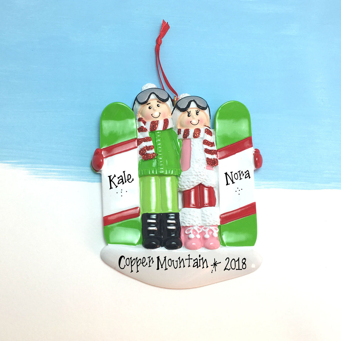 Snowboarding Couple Personalized Christmas Ornament / Couple Ornament / Pair Ornament / Snowboard Vacation Ornament / Engaged Ornament