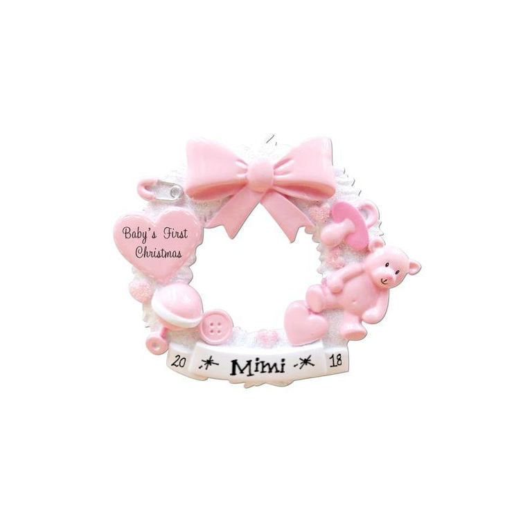 Pink Baby Wreath Bottle Personalized Christmas Ornament / Baby's 1st / Baby's First / Hand Personalized / Baby Shower