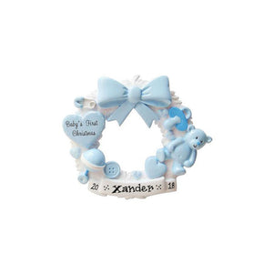 Baby Blue Wreath Personalized Christmas Ornament / Baby's First / Baby Boy