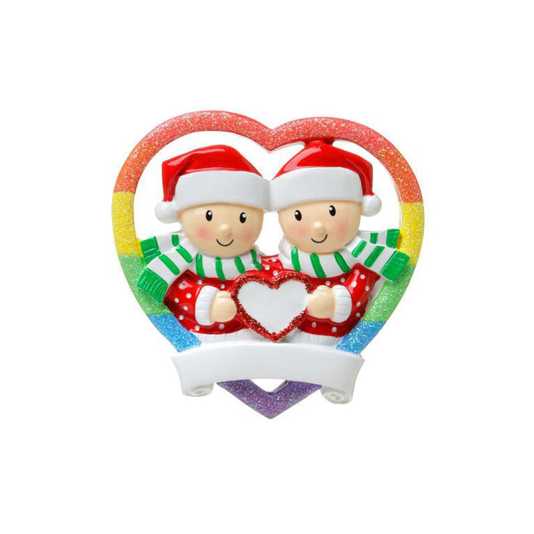 Same Sex Male Couple in Rainbow Heart / Pride Rainbow / Gay Couple Ornament / First Christmas Ornament / Personalized Christmas Ornament