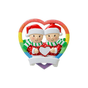 Female Couple Personalized Christmas Ornament / Pride Rainbow Heart / Lesbian Couple