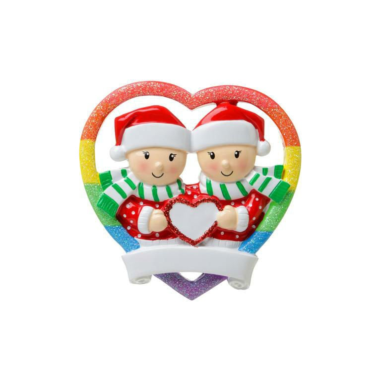 Same Sex Female Couple in Rainbow Heart / Pride Rainbow / Lesbian Couple Ornament / First Christmas Ornament / Personalized Ornament