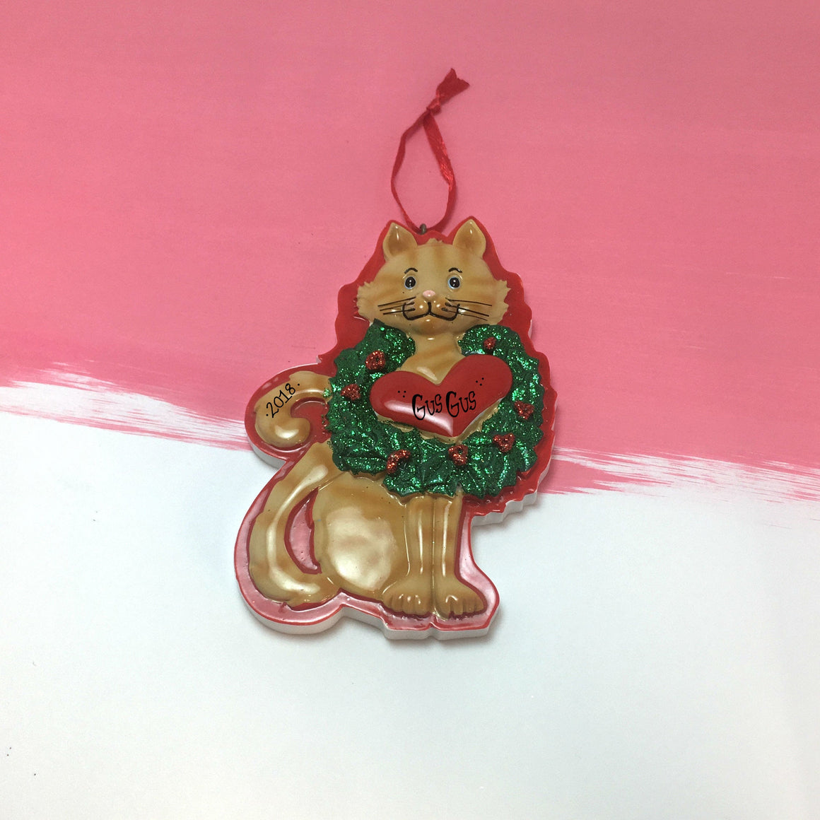 Orange Tabby Cat with Wreath and Heart Personalized Christmas Ornament / Kitten Christmas Ornament / Pet Christmas Ornament