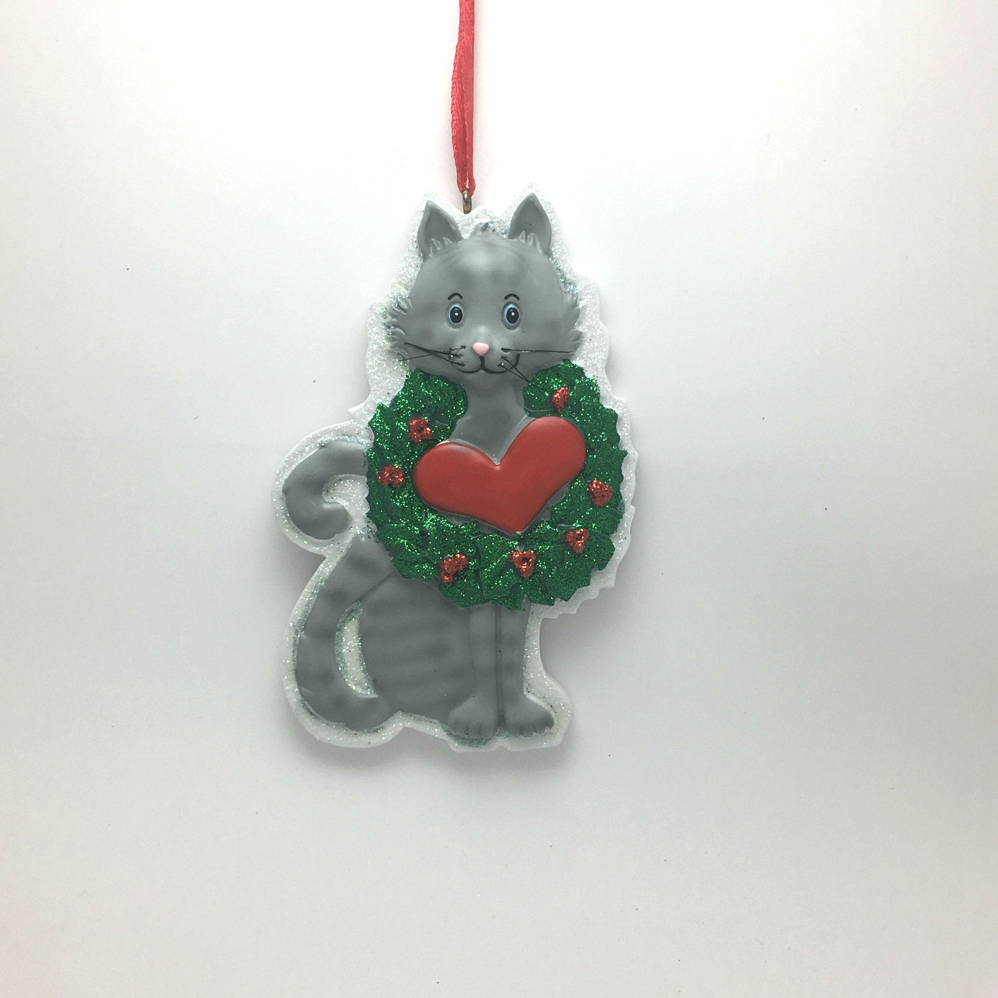 Gray Tabby Cat With Wreath And Heart Personalized Christmas Ornament Adornaments Ny