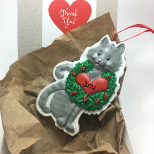 Gray Tabby Cat with Wreath and Heart Personalized Christmas Ornament / Grey Kitten Christmas Ornament / Pet Christmas Ornament
