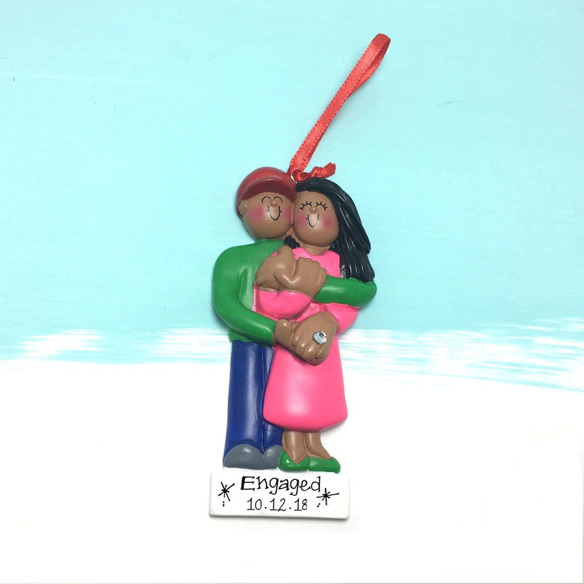 Just Engaged Couple Personalized Christmas Ornament / Brown Couple Proposal Ornament / Engaged Couple / Our First Christmas / Engaged!