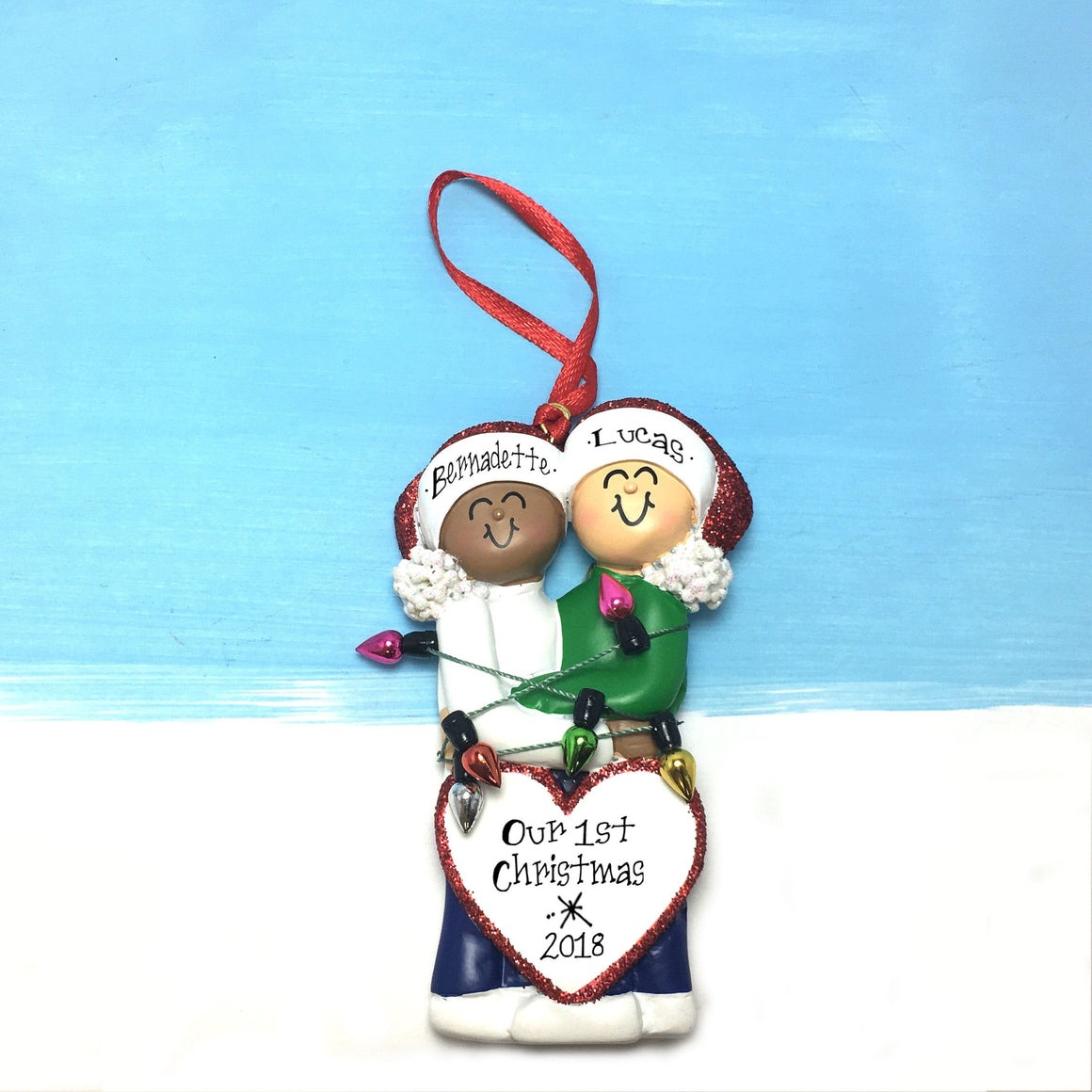 Happy Mixed Couple Tangled in Christmas Lights Personalized Christmas Ornament / Female of Color / White Male / Engaged / First Christmas