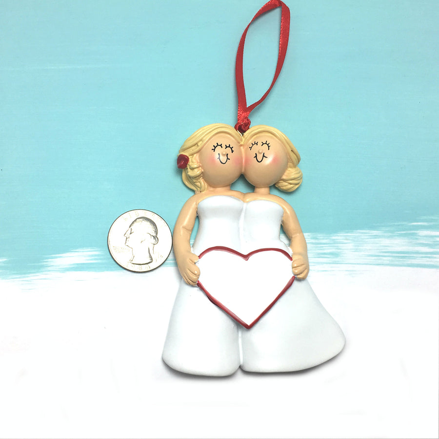 Bride & Bride Personalized Christmas Ornament / Women Couple Ornament
